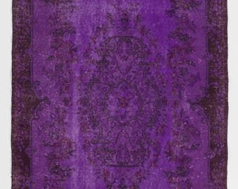 "Overdyed Rug 4' x 6'8"" (121 x 205 cm) Turkish Handmade Vintage Rug, Purple Overdyed Rug"