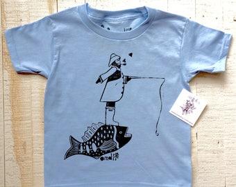 The Fisherman Hand Printed kids T-Shirt