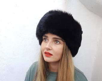 Ladies black super luxury faux fur oversized headband / ear neckwarmer / winter hat / ski bandana / handmade cossack Russian hat / hairband