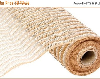 "SALE 21""x10yds natural jute, cotton natural jute deco mesh, natural deco mesh, white deco mesh, natural and white poly deco mesh, deco mesh,"
