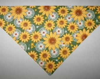 Autumn Fall Sunflowers Dog Bandana Scarf – Double Sided / Slide over Collar – Size Small, Medium, Large, X-Large