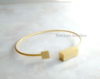 Copper based geometry bangle bracelet square rectangle fashion jewellery