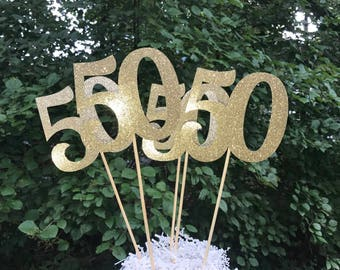 50th Birthday Centerpiece Sticks,  Glitter 50th Birthday Decoration, 50th Birthday Table Decorations, Age Cutouts