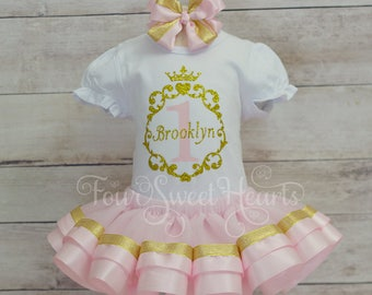 Princess First Birthday Outfit, Girls Pink and Gold First Birthday, Pink and Gold Tutu Outfit, Girl Birthday Outfit, Pink and Gold Dress