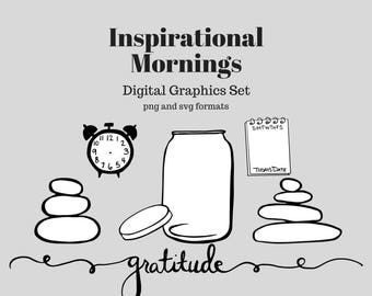 Digital Graphics - Inspirational Morning Graphic Set (png and svg) Bullet Journal Digital Stickers