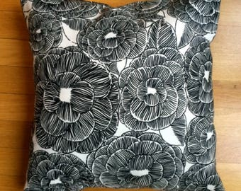 black and white floral pillow case, many sizes to choose from, Finland, handmade from Marimekko fabric