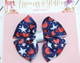 July 4th Hair Bow, Pig Tail Bows, Stars and Stripes Hair Bow, Summer Hair Bow, Patriotic Hair Bow, Red White and Blue Hair Bow