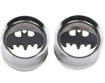 """Batman Metal Gauges plugs with threads for easy placement. MM 6,8,10, 12, 14, 16, 18, 20, 22, 24, 25 MM 00 gauge, 1/2"""", BB"""
