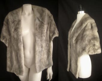 EMBA CERULEAN Silver MINK Fur Stole Cape Shawl Wrap Coat Jacket ~ Winter Wedding ~ Bridal ~Sapphire Gray Grey Blue Iris ~Smaller size
