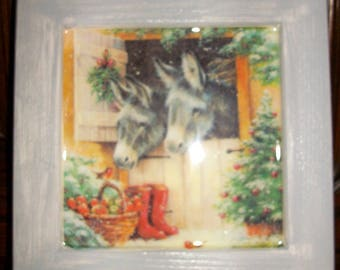 """Deco frame """"Donkeys and apples,"""" Christmas decoration"""