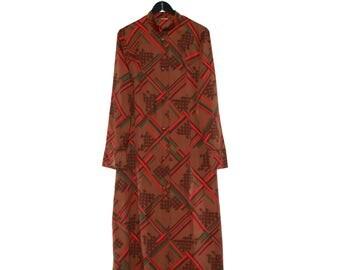 70s Tunic vintage dress 1970s kimono brown green red mao collar - vintage clothing