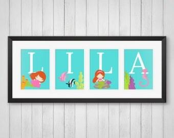 Mermaid Decor - Personalized Mermaid Name Print - Girls Room Decor - Mermaid Nursery Art - Girls Birthday Gift - Individual 4x6, 5x7, 8x10