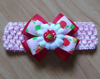 Baby Girl Headband, Apple Headband, Summer Headband, Flower Headband, Baby Hair Accessory, Baby Headband, Apple Hairbow, Girls Hairbow