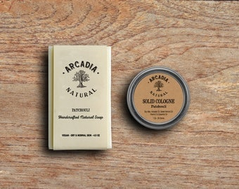 Patchouli Solid Cologne in a Travel Tin and Natural Soap combo, Vegan, Alcohol Free, Patchouli Soap, Patchouli Cologne