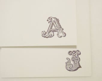 Monogramed Blank Note Cards with Envelopes / Thank You Cards / Personalized Stamped Cards Set of 12