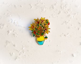 Sunflower brooch, Sunflower jewelry, Sunflower, Van Gogh, Van Gogh brooch, Van Gogh jewelry, Flower brooch, Flower jewelry.