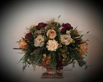 Floral Arrangement XL Centerpiece Large Formal Silk Tuscan Decor SHIPPING INCLUDED