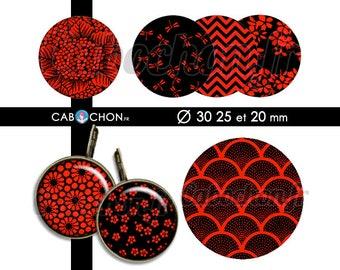 Japan Red & Black • 45 Images Digitales RONDES 30 25 20 mm japon washi motif sakura page cabochon rouge japonais