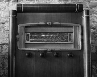 Metal Print | Antique Radio in Black and White
