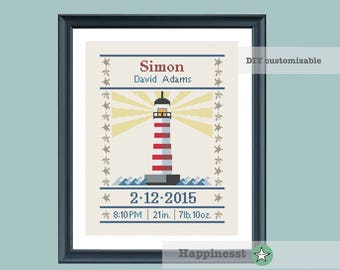 cross stitch baby birth sampler, birth announcement, lighthouse, nautic, baby boy or girl, DIY customizable pattern** instant download**
