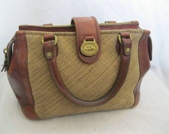 Brown Leather and Canvas Brahmin Tote