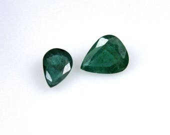 2.55 Cts Certified Natural Zambian Emerald Pear Shape Couple Pair Loose Gemstone