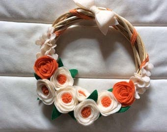 Peach and Orange Felt Flower Wreath