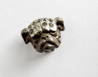 Victorian Pot Metal and Paste Bulldog Brooch