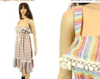 tempSALE Vintage Sundress, 70s Rainbow Striped Ruffle Cotton Dress, Drawstring Empire Waist Boho Hippie Tank Tent Dress Summer Festival Lace