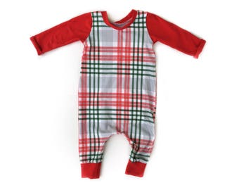 Christmas Plaid Romper, Jumper, Playsuit for babies and toddlers, boys and girls