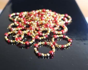 Set of 42 Beaded Wine Glass Charms / Napkin Holders / Party Table Decorations / Christmas / Birthday Glass Markers / Red and Gold