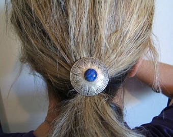Gift Idea, PONYTAIL HOLDERS, Ponytail Holder, Hair Jewelry, Elastics, Mens, Womens, Hair Ties, Silver, Lapis or Wine Color Stone, #80253-1