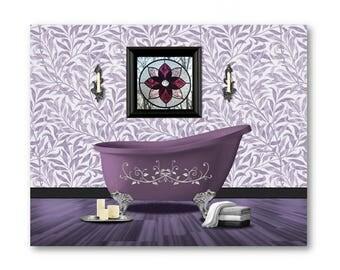 SALE Purple Bathroom,Purple Bathroom Printable,Purple Wall Decor, Violet  Bathroom Print,