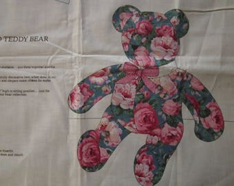 Vintage Cabbage Rose Teddy Bear Fabric Pillow Toy Quilt Block Applique