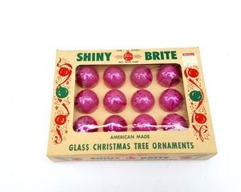 Shiny Bright Vintage Pink Christmas Oraments, Small Xmas Holiday  Collectible Ornaments, Pink Christmas Tree Decorations