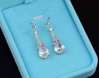 Wedding Tear Drop Earrings Bridal CZ Earrings Crystal Earrings Wedding Dangle Drop Earrings Teardrop Earrings Wedding Bridal Jewelry 80147