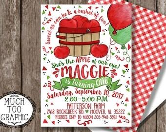 Apple Birthday Invitation  1st Birthday Apple Of Our Eye Photo Invitation Apple Picking Birthday Apple Orchard Fall Birthday