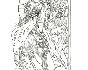 High Priestess & The Star Coloring Pages