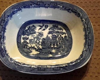 Vintage 30's Blue and white Allertons England Willow Pattern Oval Bowl Dish