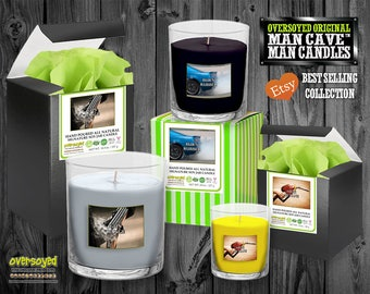 Man Cave Man Candles - Oversoyed Best Selling Hand Poured Soy Tumbler Jars - Gifts For Fathers Men Guys Bachelors Wedding Christmas Holidays