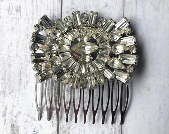 Vintage Hair Comb/ Art Deco Hair Comb/ Art Deco Hairpiece/ Silver Hair Comb/ Rhinestone Hair Comb/ Diamond Hair Comb/ Rhinestone Headpiece