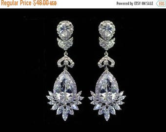 ON SALE Cubic zirconia  chandelier bridal earrings, elegant bridal jewelry, statement bridal earrings