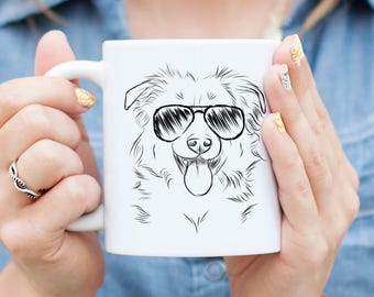 Aviator Border Collie/Shepherd Dog Mug - Gifts For Dog Owner, Collie Lover, Dog Art, Dog Lover, Collie Mug, Shepherd Gift, Shepherd Mug