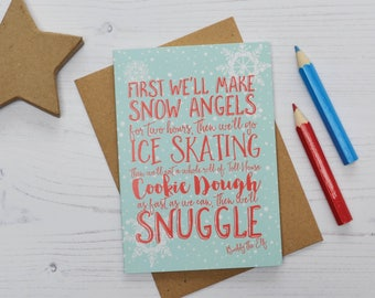 Buddy the Elf Christmas Cards, First we'll make snow angels, Funny Christmas Card