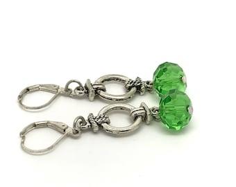 Dark Green crystal earrings, Emerald Green Earrings, Sparkly Dark Green earrings, Green wire wrapping earrings