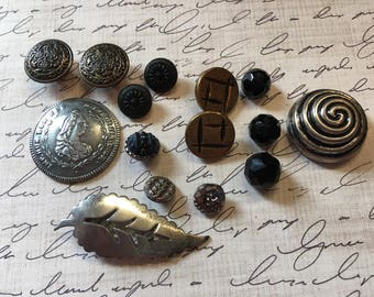 Vintage Buttons and (1) Collar Clip - Lot #5