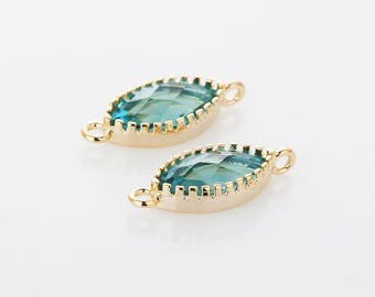 Dark Blue Zircon Glass Connector, Pendant Polished Gold-Plated - 2 Pieces <G0245-PGDBZ>