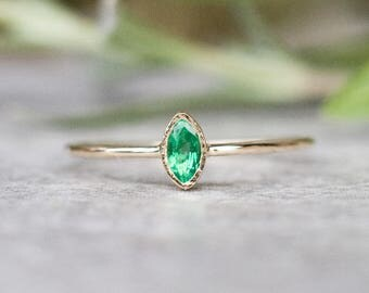 Natural Emerald ring in 14k gold, Emerald Engagement ring, 14k gold ring, Marquise shaped Ring, Gemstone ring, Unique Gift for Her