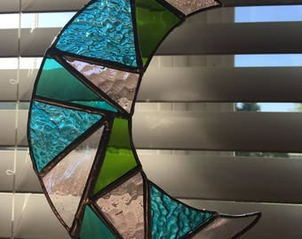 Stained Glass Crescent Moon Sun-Catcher (pink/teal/blue/green)