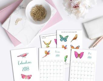 Calendrier Birds Printable 2018 - Calendrier Oiseaux et papillons - 12 mois - Nature - pratique - organisation - 2018 - Bonus DIY 12 décors